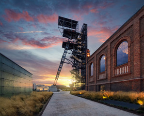 Silesian Museum during sunset.