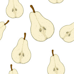 Half of pear. Colored hand drawn sketch as seamless pattern