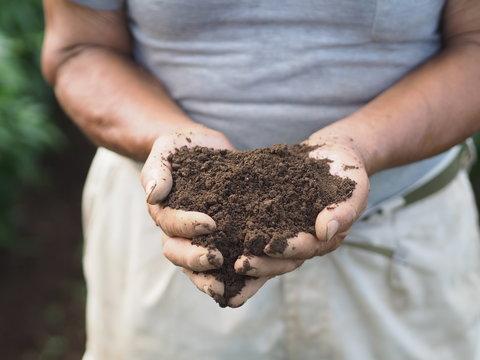 農家の手の上の土
