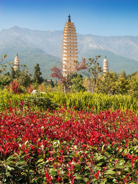 Drei Pagoden bei Dali, China