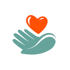 Donation, charity logo or label. Hand holding heart icon. Vector symbol