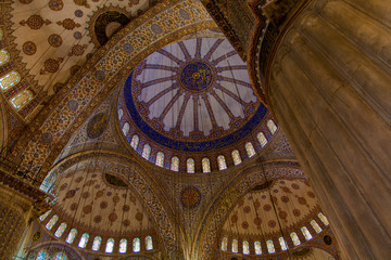 Low Angle View of Blue Mosque Inside Domes