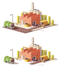 Vector low poly factory icon