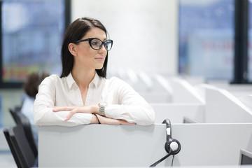 female call centre operator doing her job