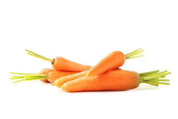 Fresh and ripe carrots isolated on white