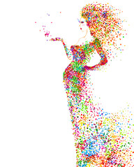 Fototapete - Summer decorative composition with girl on the white background. Colored particles formed abstract woman figure.