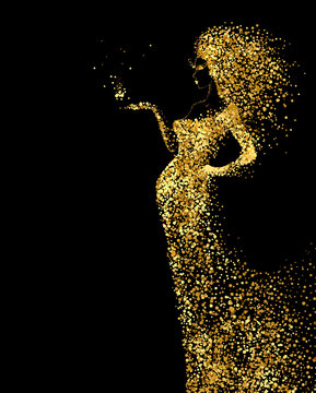 Beautiful Woman abstract figure formed by gold color particles on the black background. Bright banner with beautiful glamour girl with hair down and in the long fashion dress.