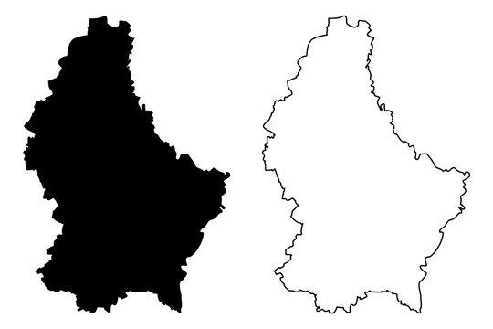 Luxemburg map vector illustration, scribble sketch Luxemburg