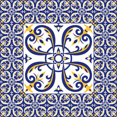 Tiles floor pattern vector with ceramic cement tiles. Big tile in center is framed in small. Background with portuguese azulejo, mexican, moroccan, spanish, arabic motifs.