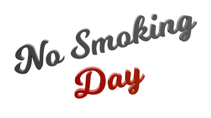 No Smoking Day Calligraphic 3D Rendered Text Illustration Colored With Gray And Red-Orange Gradient, Isolated On White Background