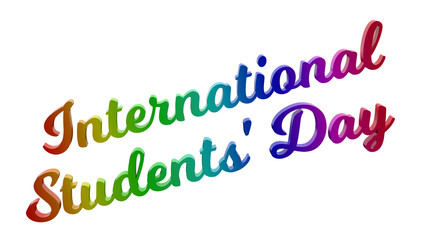 International Students' Day Calligraphic 3D Rendered Text Illustration Colored With RGB Rainbow Gradient, Isolated On White Background