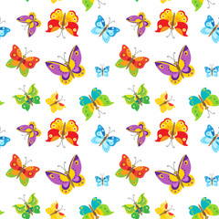 Seamless Vector Pattern With Colorful Butterflies On White Background. Vector Nature Pattern Illustration For Children. Summer Bustling. Hot Kerfuffle.