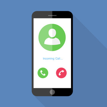 Flat design the smartphone with incoming call on screen, vector design element illustrator