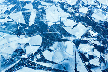 Texture of ice surface, ice floe. Top view