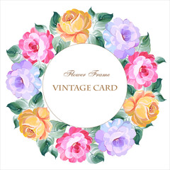 Vintage card with a round wreath of roses