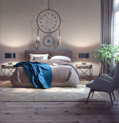 Classic bedroom design 3d Rendering