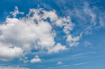 puffy cloud motion on a blue summer sky