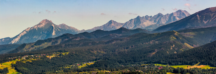High Tatra mountain ridge evening in Poland