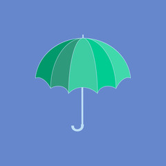 Umbrella green on blue background