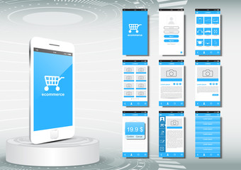 UI, UX for mobile application template, ecommerce