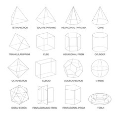 All basic 3d shapes template. Realistic with shadow