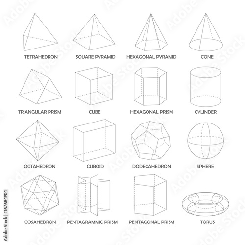 all basic 3d shapes template realistic with shadow stock image and