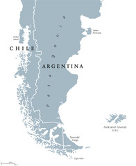 Patagonia political map. The southern end of continent South America, shared by Chile and Argentina. With Falkland Islands, a British overseas territory. English labeling. Gray illustration. Vector.