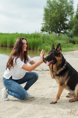 The girl and her gorgeous German shepherd