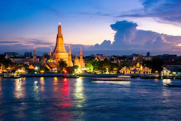 Poster Bangkok Wat Arun after finished renovation in July 2017. Wat Arun is one of famous Landmark of Bangkok.