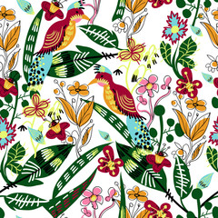 Seamless pattern with bird, leaves and flowers for textile design