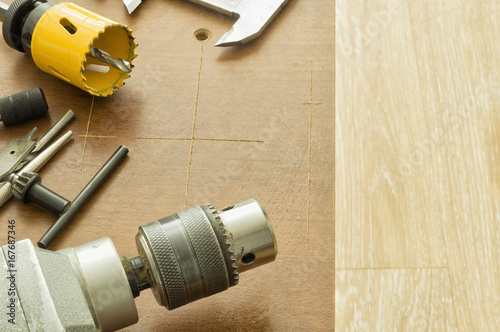 Accessories For Drilling Holes In Wood And Metal Stock Photo And
