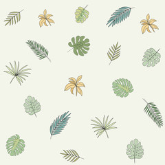 Tropical leaves. Vector print. Seamless pattern.