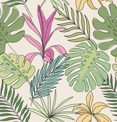 Palm leaves. Tropical print. Seamless pattern.