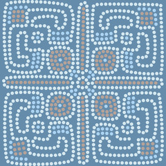 ethnic tiled pattern background in blue colors