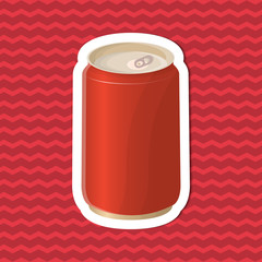 Sticker of soda in a tin can on red striped background. Graphic design elements for menu, poster, brochure. Vector illustration of fast food for bistro, snackbar, cafe or restaurant.