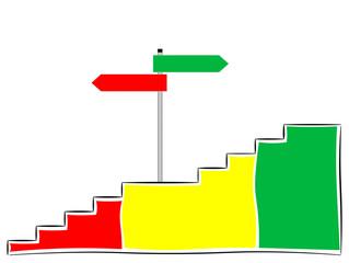 Treppe mit Schild, Aufwärts oder Abwärts