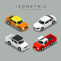 Isometric colorful car collections, vector illustration