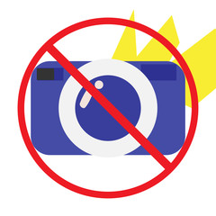 No Photo or photography not allowed, forbidden or prohibited Cartoon Styled vector Icon. Could be also used as no flash sign.