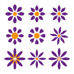 Set of nine simple flower shapes in two colors