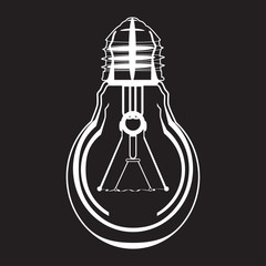 Light bulb vector icon in flat style