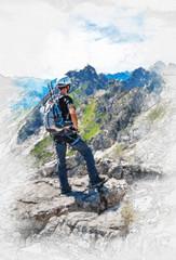 Artistic fine art portrait of a mountain climber