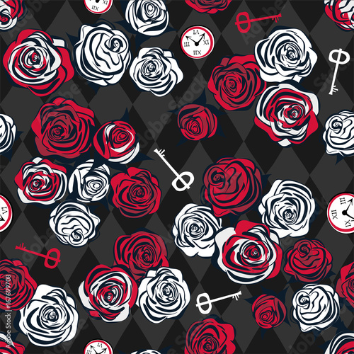 Red And White Roses Key And Clock On Chess Background