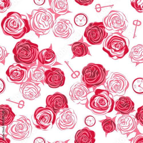 Red Roses And White Key Clock On Background Seamless Pattern