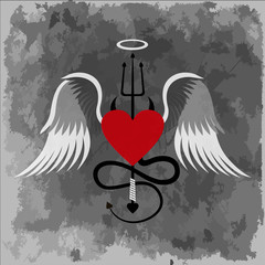 Heart with wings and horns  on grunge background. Vector illustration