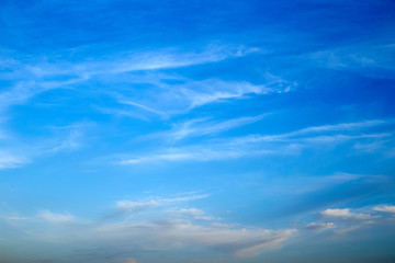 Beautiful blue cloudy summer sky background.
