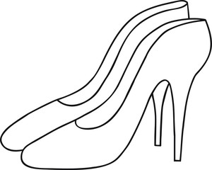 Hand drawn vector illustration pair of elegant high heel women pumps, coloring page, fashion, logo design, web site banner, template