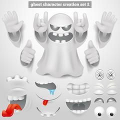 Creation set of halloween emoticon ghost cartoon character.