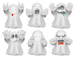 Set of cute cartoon ghost emoticon characters