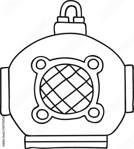 hand drawn vector illustration vintage scuba deep sea diving helmet coloring page logo