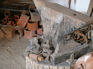 Old anvil in a forge.